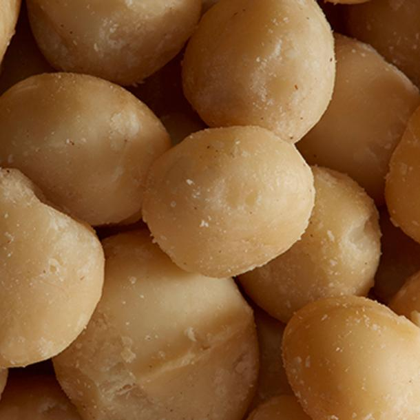 Close up of macadamia nuts, one of the hero ingredients in weDo's products